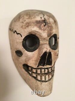 Mexican or Guatemalan Festival Mask Wood Carved Folk Art Museum Piece