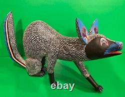 Miguel Santiago Soriano Folk Art Carved Wood Sculpture Coyote Oaxacan Mexican