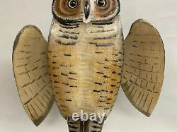 Mike Borrett Polychrome Folk Art Carved Wooden Great Horned Owl Decoy