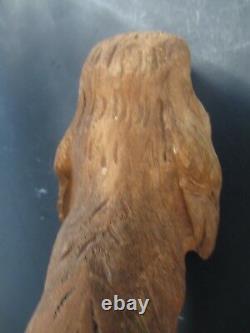 NICE vintage DOG old hand carved wood C1900's FOLK ART 12-1/2 Long 8-1/2 High