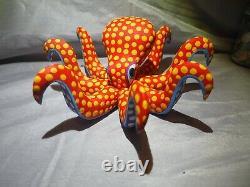 OAXACAN Wood Carving Armando Jimenez Octopus Red Orange teal blue Folk ART