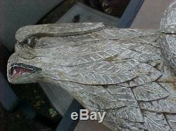ORIGINAL 1800s FOLK ART SCHOONER SHIP FIGUREHEAD CARVED EAGLE A BEAUTY
