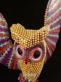 OWL (Buho) Alebrije Oaxacan Wood Carving Folk Art by Sergio Santiago, Textured