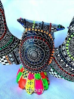 OWL Large Colorful Alebrije Hand Crafted Wood Carving Oaxacan Folk Art Oaxaca