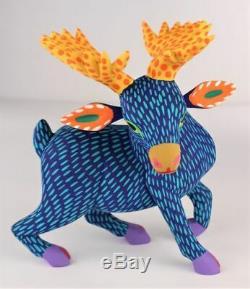 Oaxacan Wood Carving Armando Jimenez Blue Moose Oaxaca Mexican Folk Art Alebrije