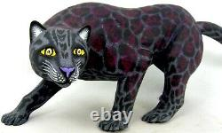 Oaxacan Wood Carving Black Panther Eleazar Morales Mexican Folk Art Alebrije