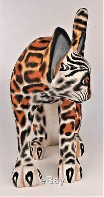 Oaxacan Wood Carving Eleazar Morales Lg Ocelot Wild Cat Oaxaca Mexican Folk Art