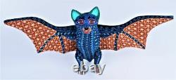 Oaxacan Wood Carving Lauro Ramirez Vampire Bat Oaxaca Mexican Folk Art Alebrije