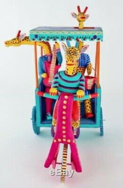 Oaxacan Wood Carving Martin Melchor Giraffe Taxi Oaxaca Mexico Folk Art Alebrije