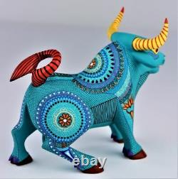 Oaxacan Wood Carving Rene Xuana Green Toro Bull Oaxaca Mexican Folk Art Alebrije