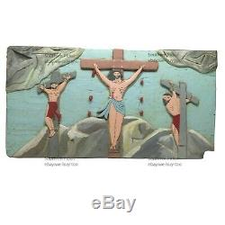 Old African American Folk Art, Crucifixion, Arkansas, Religious Carving Relief