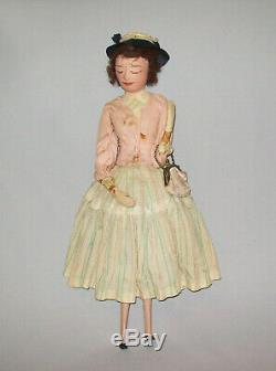 Old Antique Vtg 1950s Hand Made Folk Art Carved Wooden Doll Original Paint Nice