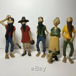 Old Folk Art Hand Carved Wooden Hillbilly Family Lot Of 6 Figures