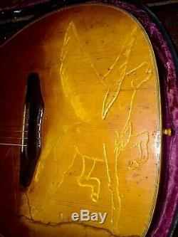 Old Harmony Sovereign Folk Art Pegasus Carved Top Guitar with Beat Lifton Case