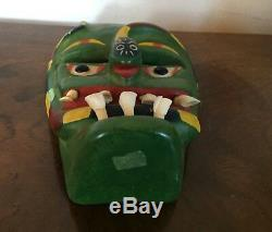 Old Mexican Folk Art Carved Wood Mask Devil Snake Day of the Dead Real Teeth