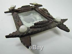 Old Tramp Art Wooden Frame miniature hand carved folk art tiered lwr stars brass
