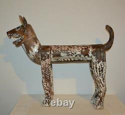 Old Vintage Large Hand Carved Wood Folk Art Life-size Dog Figure 36 x 29