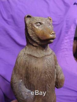 Old Vintage Wood Bear Hand Carved Carving Folk Art Wooden Sculture Art Statue