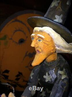 Orig OOAK Hand Carved Anthony Costanza Halloween Folk Art Witch over Moon, Signd