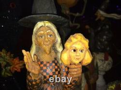Orig. OOAK Hand Carved Anthony Costanza Halloween Folk Art Witch w Mask, Signed