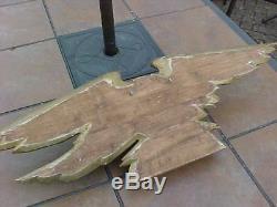 Original Antique Folk Art Carved Wooden Wall Eagle