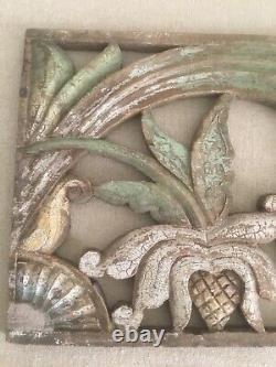Pair Antique Carved Painted Folk Art Panels