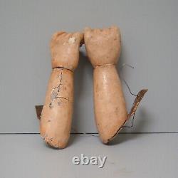 Pair Vintage Wood Carved Arm 6 Doll Folk Art