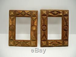 Pair of Antique Primitive Carved Wooden Tramp Art Frames 2 Pcs As Is Folk Art
