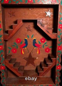 Pennsylvania Dutch Painted Wood Stairway To Heaven Shelf, Circa 1940, Excellent