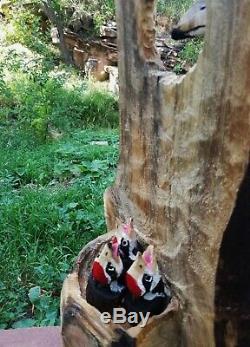 Pileated Woodpecker Wood Sculpture Carving Chainsaw Folk Art Duck Decoy