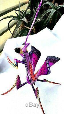 Praying Mantis Alebrije Blas Hand-painted Oaxacan Wood Carving Oaxaca Folk Art