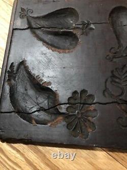 Primitive ANTIQUE HAND CARVED FOLK ART WOOD BUTTER PRINT MOLD Lg 2 Sided Hearts