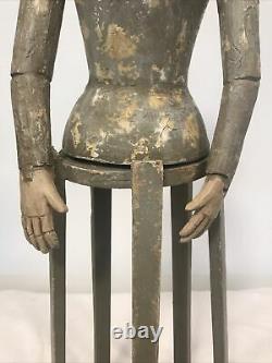Primitive Folk Art 32 Carved Wood Santos Cage Doll