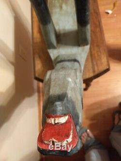 Primitive Folk Art Wood Zoomorphic Hand Carved & Painted Horse Stool Table Bench