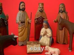 Puerto Rico Folk Art Domingo Orta Jr. Hand Carved Wood Nativity Set