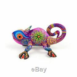 Purple Chameleon Oaxacan Alebrije Wood Carving Mexican Folk Art Sculpture