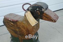 RARE 19Thc Antique Hand Carved Wood Duck Carnival Animal Carousel horse folk art