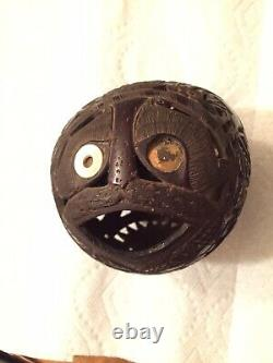 Rare 19th Century Mexican Prison Art Hand Carved Coconut Shell Bank