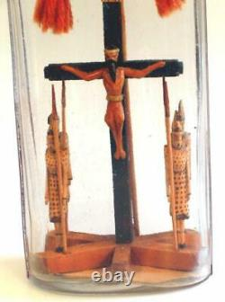 Rare Folk Art, Whimsey, Whimsy Crucifixion with 4 Guards in Bottle