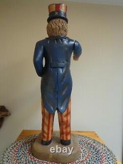 Rare Large Vintage Americana Primitive Folk Art Wood Carved Uncle Sam Statue