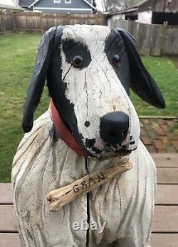 Rare Lifesize Folk Art Carved Dog, Don Thompson (1929-2014) Signed