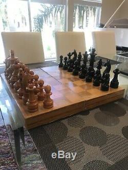 Rare VTG Antique Large Wooden Hand Turned Carved Chess Set Game Board Folk Art