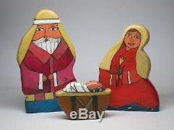STICKS Furniture LARGE Nativity Scene Set Hand painted Folk Art Wood Carved RARE