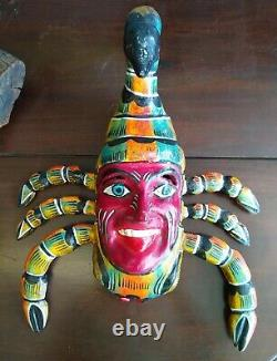 Scorpion Mask Hand Carved Mexican Wooden Carving Figure Vintage Folk Art