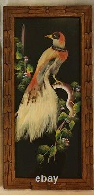 Set Of 3 Mexican Feathercraft Exotic Real Feathers Hand Carved Frames