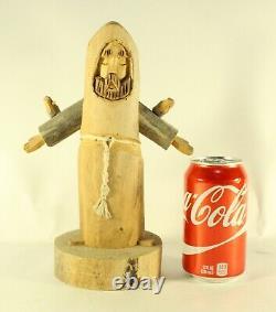 Signed Folk Art Jonas Ortega Primitive Hand Carved St Francis or Monk Sculpture