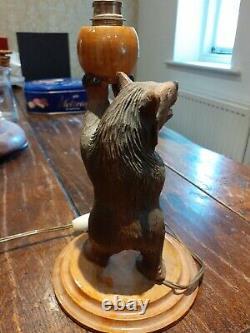 Singed Ruef antique Black Forest table/desk lamp folk art art carved Bear