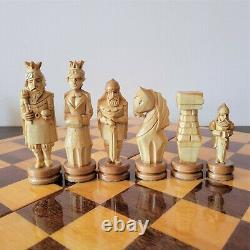 Soviet folk art 70s hand carved chess set Wooden russia vintage USSR antique