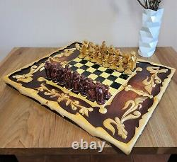 Soviet folk art 80s hand carved chess set Wooden russia vintage USSR antique