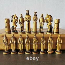 Soviet folk art hand carved chess set Wooden russia vintage USSR antique